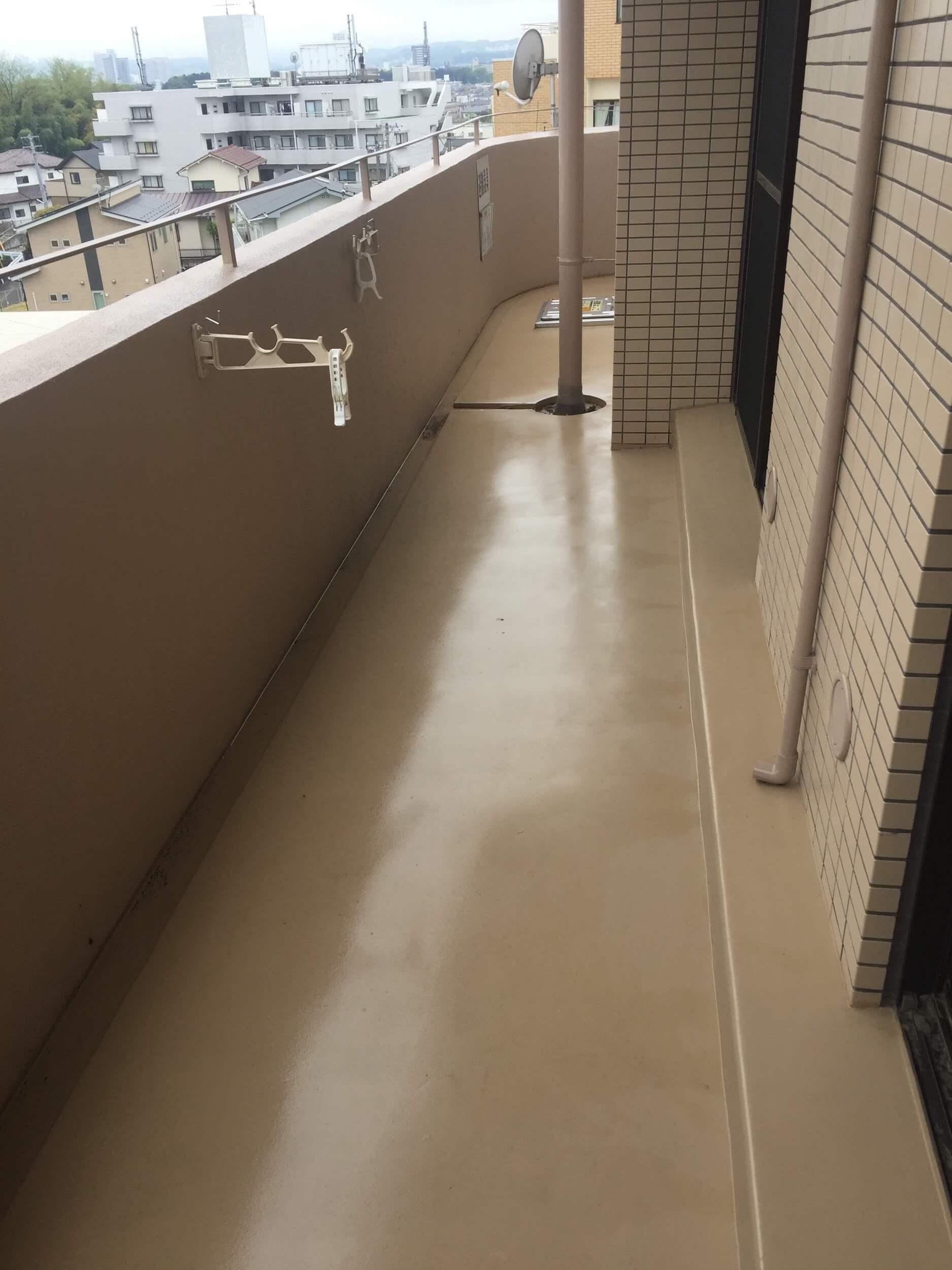 浸水量の多いベランダ