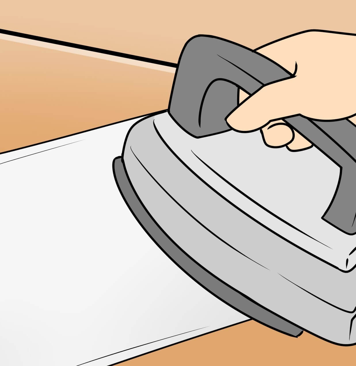 へこみの部分を布巾の上からアイロンで押さえつける