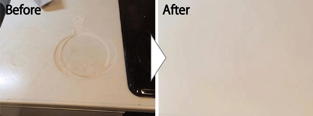 キッチンの人工大理石の焦げ痕 技術相場70,000円
