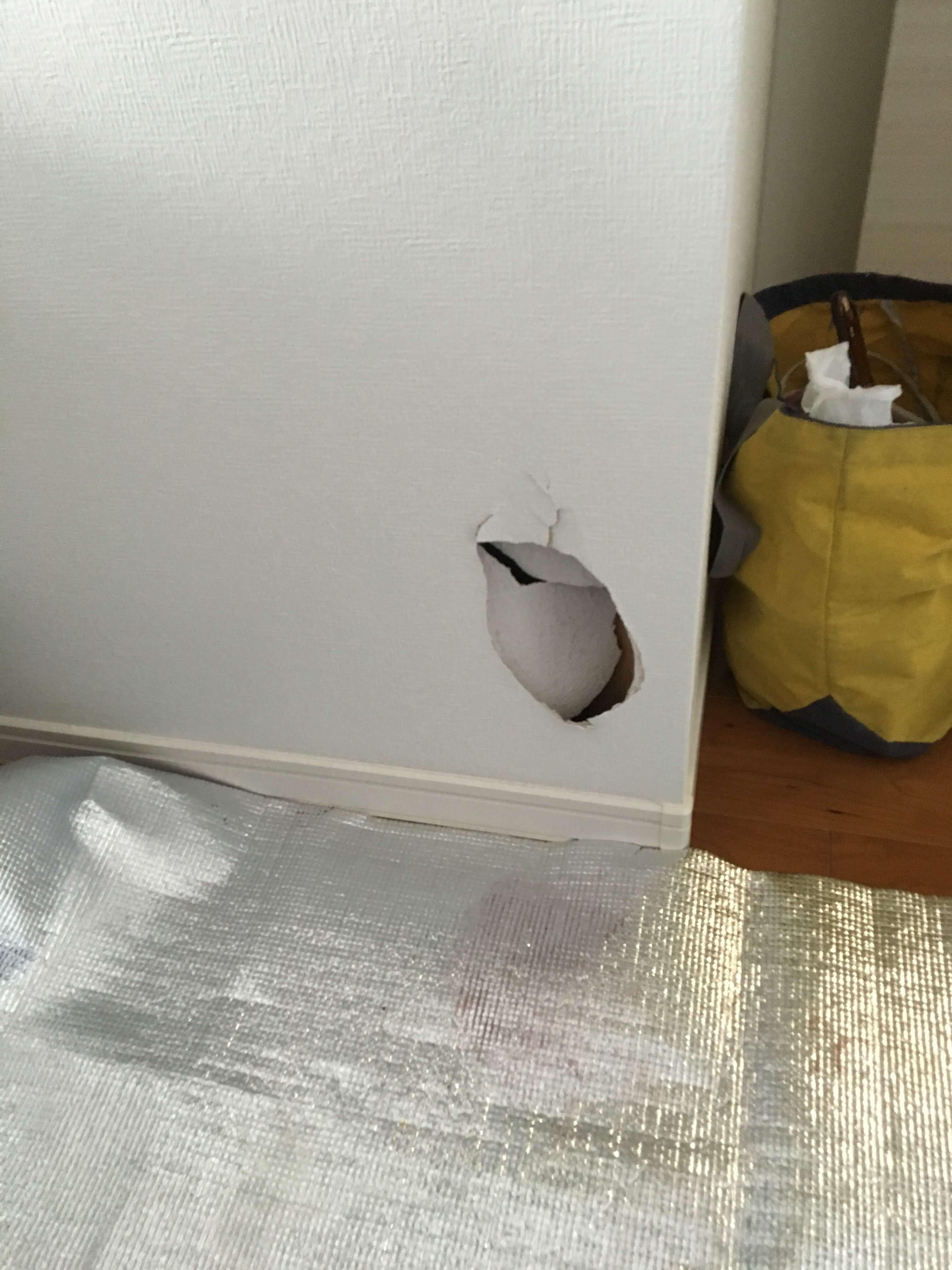石膏ボードごと空いた10cm以上の穴の補修方法