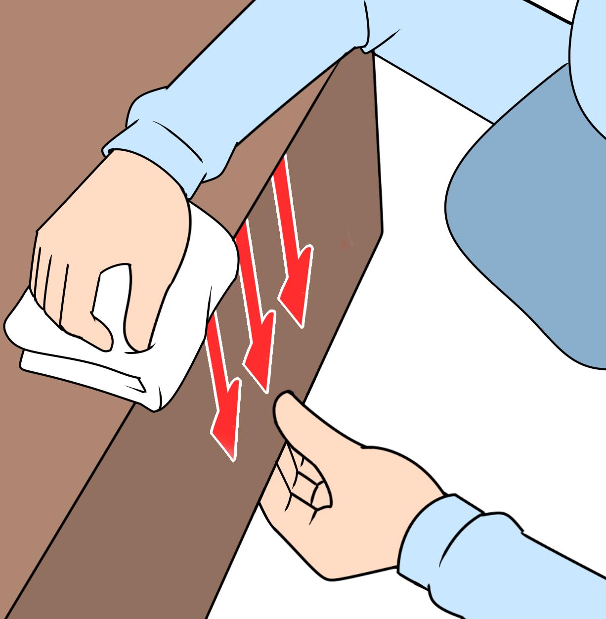 切り口をサンドペーパーで軽く研磨しておくとはがれにくい