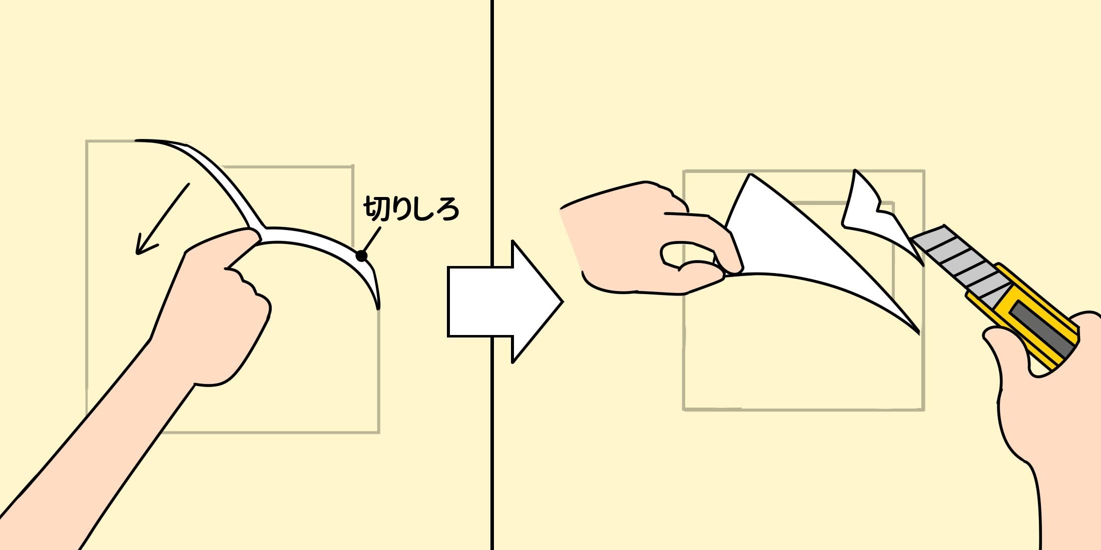 ④新しい壁紙を一旦外して赤線より外側の余分を取り、既存も重ねて切ったラインから内側を取り除く。